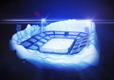 Iceberg island with hockey stadium. 3d illustration of section of iceberg island with hockey stadium with light towers on dark blue background and flares Stock Image