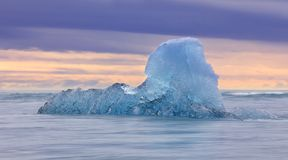 Iceberg from the Jokulsarlon glacial lagoon floating stock photos