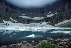 Iceberg Lake in the fog Stock Photography