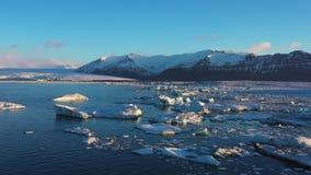 Iceberg lake iceland glacier diamond beach aerial