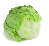 Iceberg lettuce. Studio shot of a whole iceberg lettuce on white background Royalty Free Stock Image