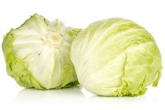 Fresh raw Iceberg Lettuce isolated on white. Iceberg lettuce isolated on white background two fresh green cabbage heads Stock Photo