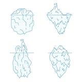 Iceberg Line Style Set. Vector Royalty Free Stock Photos