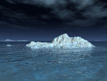 Iceberg in Moonlight. A moonlit iceberg drifts in a calm sea, underneath a starry sky and wispy clouds stock illustration