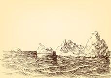 Iceberg no desenho do oceano ilustração do vetor