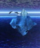 Iceberg no oceano aberto com o vagem dos golfinhos ilustração royalty free