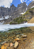Iceberg Notch and Lake. Iceberg Notch and the Ptarmigan Wall towers 3000 feet above mostly frozen Iceberg Lake in June in Glacier National Park, Montana Royalty Free Stock Images