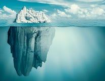 Iceberg in ocean. Hidden threat or danger concept. 3d illustration. Iceberg in ocean as hidden threat or danger concept royalty free stock photo