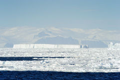 Iceberg. And pack-ice in front of coast Antarctica Stock Images
