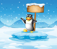 An iceberg with a penguin and an empty wooden signboard Stock Images