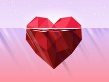 Iceberg poligonal rojo del corazón que flota en el mar profundo rosado stock de ilustración