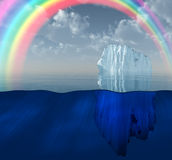 Iceberg with rainbow scene Stock Photos