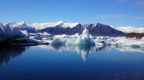 Iceberg reflection at Jokulsarlon  in Iceland Royalty Free Stock Photography