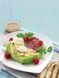 Iceberg salad with bocconcini, raspberry and salami Stock Photos