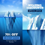 Iceberg Sale Banners. Sale banners vertical set with iceberg discount symbols  vector illustration Stock Images