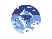 Iceberg in sea or ocean. Antarctic environment and ice mountain in water. Vector illustration Royalty Free Stock Image