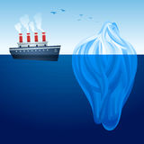 Iceberg Ship. Historical steam ship and large iceberg stock illustration