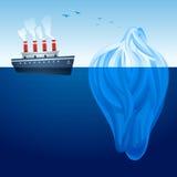 Iceberg Ship. Historical steam ship and large iceberg Stock Photos