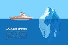Iceberg and ship. Picture of diesel icebreaker ship and iceberg, flat style illustration Royalty Free Stock Photos