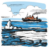 Iceberg sketch cartoon landscape. Stock Image