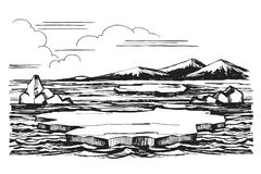 Iceberg sketch hand-drawn cartoon. Iceberg sketch of a hand-drawn cartoon landscape in Antarctica. Ice floes against a background of snow-capped mountains stock illustration