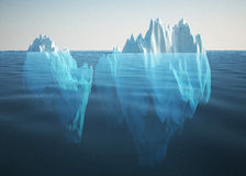 Iceberg solitary in the sea. 3d high quality rendering Royalty Free Stock Photo
