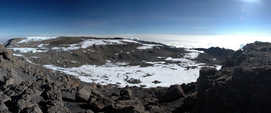 Iceberg at summit of mount Kilimanjaro panoramic Royalty Free Stock Photography