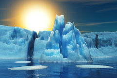Iceberg and sun. Iceberg in the background of the sun. 3d render Royalty Free Stock Photo