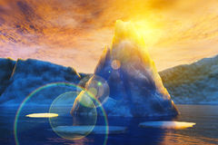 Iceberg and sun. Iceberg in the background of the sun. 3d render Royalty Free Stock Photography