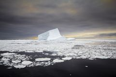 Iceberg during sunset. In Antarctica Weddell Sea Royalty Free Stock Photo