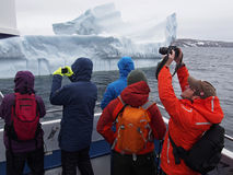 ICEBERG_TOURISTS. Passengers on tour boat get a closeup look at a giant iceberg near St. Anthony, Newfoundland during that town`s annual iceberg festival in June Stock Image