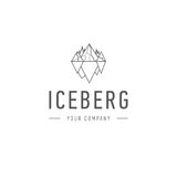 Iceberg triangle of cold mountain abstract vector and logo design or template hill business icon of company identity Royalty Free Stock Image