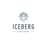 Iceberg triangle of cold mountain abstract vector and logo design or template hill business icon of company identity Royalty Free Stock Photography