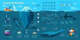 Iceberg Infographics. Iceberg and underwater infographics. Vector flat elements with polygonal .iceberg, graphics and icons