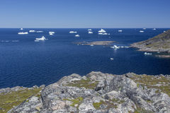 Icebergs à l'île de Fogo Photo stock