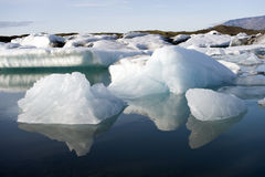Icebergs. Drifting icebergs in the glacier lagoon at Joekulsarlon, Iceland royalty free stock image