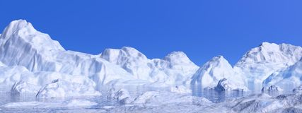 Icebergs - 3D render Royalty Free Stock Images