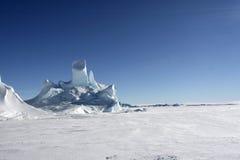 Icebergs on Antarctica. Iceberg frozen solid in the sea ice of Antarctica Stock Photography