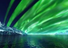 Icebergs, aurora boreal representación 3d