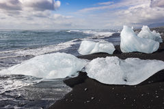 Icebergs on the beach Royalty Free Stock Photography