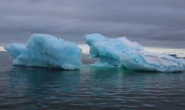 Icebergs bleus dans le fjord Images libres de droits