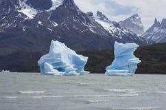 Icebergs bleus en Grey Lake, Torres del Paine, Patagonia, Chili Images libres de droits