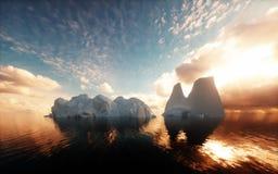 Icebergs in calm ocean Stock Images