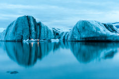 Icebergs with candles, Jokulsarlon ice lagoon before annual firework show, Iceland Royalty Free Stock Photography