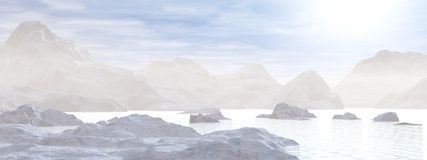 Icebergs - 3D render. Hazy icebergs in the morning blue sunlight Royalty Free Stock Photography