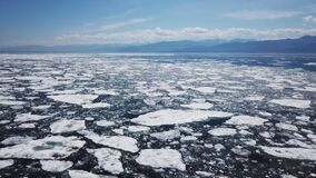 Icebergs drone aerial video top view - Climate Change and Global Warming