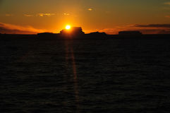 Icebergs in the evening light. Giant tabular icebergs floating in the Weddell Sea, in Antarctica Stock Images