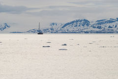 Icebergs floating in the arctic sea in Svalbard Stock Image