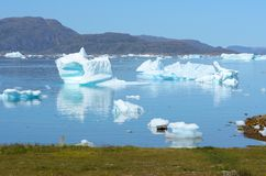 Icebergs floating in the Atlantic Ocean, Greenland royalty free stock photo