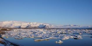 Early morning ice floating at Jökulsarlon glacier  Stock Photo